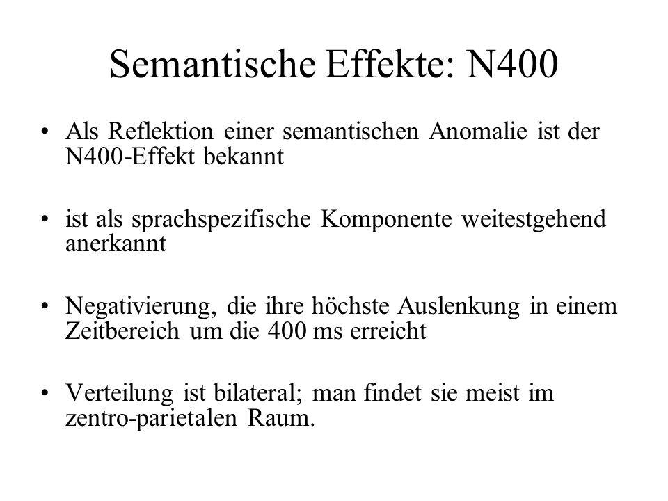 Semantische Effekte: N400 Als Reflektion einer semantischen Anomalie ist der N400-Effekt bekannt ist als sprachspezifische Komponente weitestgehend an