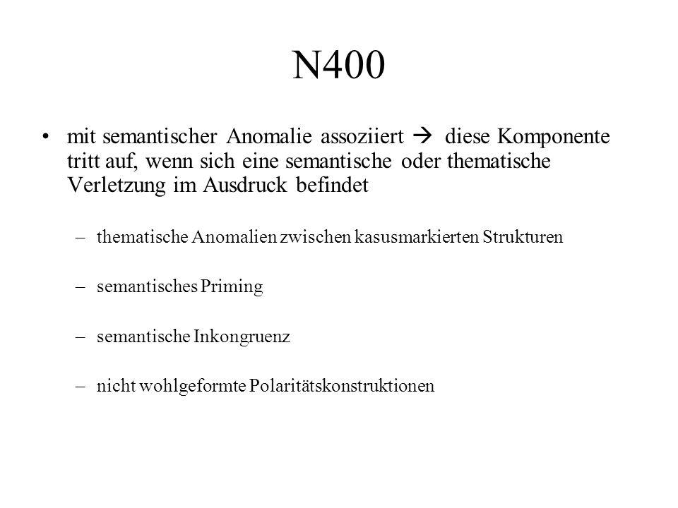 mit semantischer Anomalie assoziiert  diese Komponente tritt auf, wenn sich eine semantische oder thematische Verletzung im Ausdruck befindet –themat