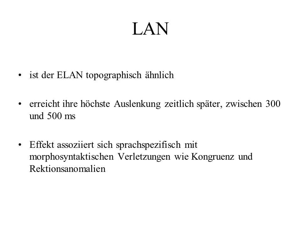 LAN ist der ELAN topographisch ähnlich erreicht ihre höchste Auslenkung zeitlich später, zwischen 300 und 500 ms Effekt assoziiert sich sprachspezifis