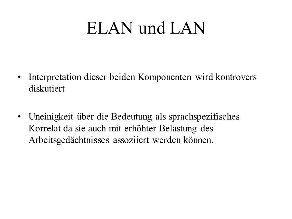 ELAN und LAN Interpretation dieser beiden Komponenten wird kontrovers diskutiert Uneinigkeit über die Bedeutung als sprachspezifisches Korrelat da sie