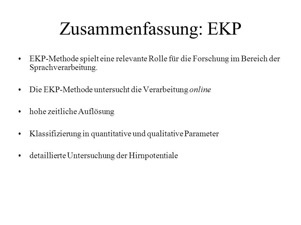 Zusammenfassung: EKP EKP-Methode spielt eine relevante Rolle für die Forschung im Bereich der Sprachverarbeitung. Die EKP-Methode untersucht die Verar