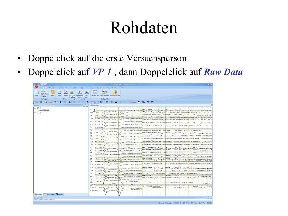 Rohdaten Doppelclick auf die erste Versuchsperson Doppelclick auf VP 1 ; dann Doppelclick auf Raw Data