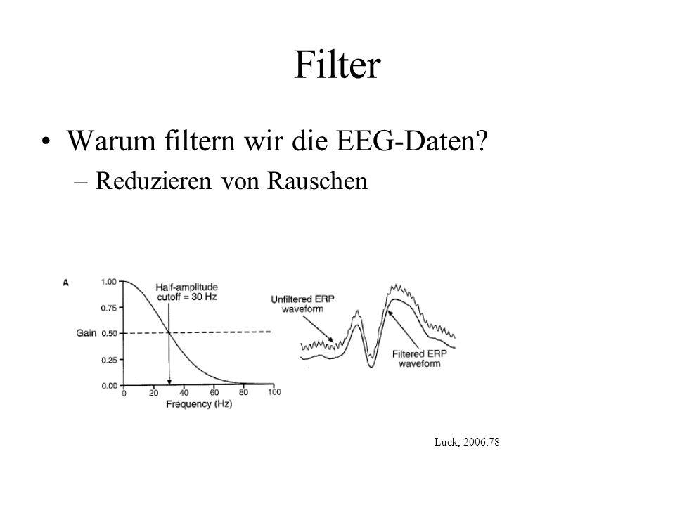 Filter Warum filtern wir die EEG-Daten? –Reduzieren von Rauschen Luck, 2006:78