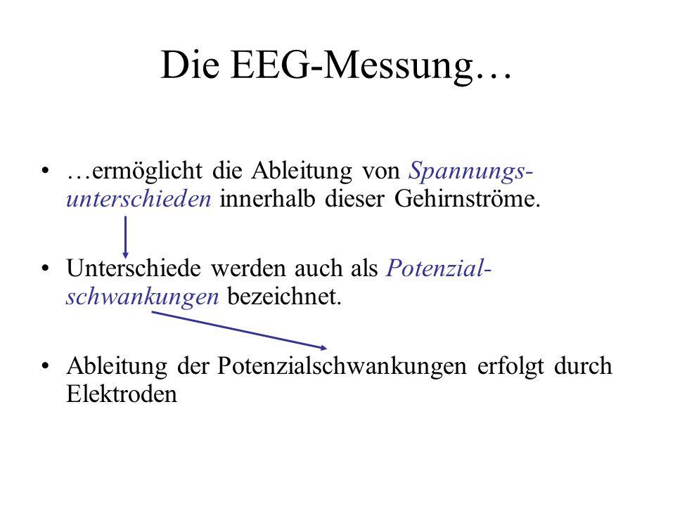 Die EEG-Messung… …ermöglicht die Ableitung von Spannungs- unterschieden innerhalb dieser Gehirnströme. Unterschiede werden auch als Potenzial- schwank