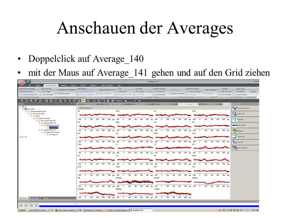 Anschauen der Averages Doppelclick auf Average_140 mit der Maus auf Average_141 gehen und auf den Grid ziehen