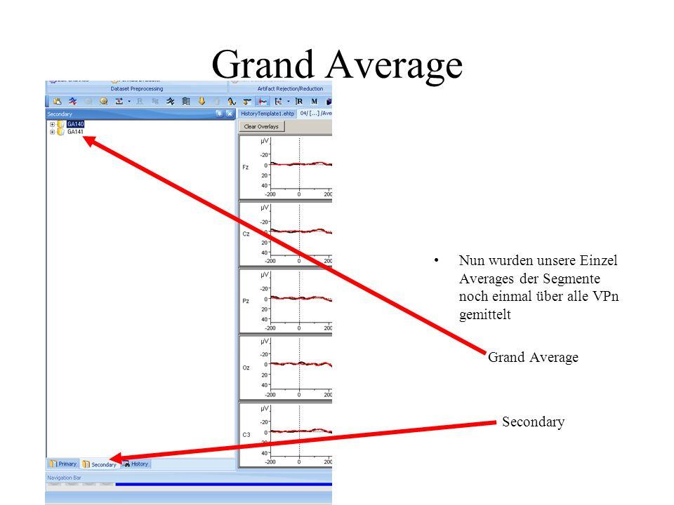 Grand Average Nun wurden unsere Einzel Averages der Segmente noch einmal über alle VPn gemittelt Grand Average Secondary