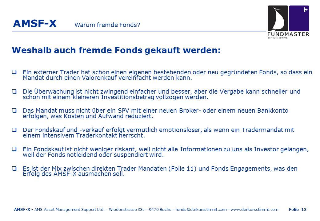 AMSF-X Weshalb auch fremde Fonds gekauft werden:  Ein externer Trader hat schon einen eigenen bestehenden oder neu gegründeten Fonds, so dass ein Mandat durch einen Valorenkauf vereinfacht werden kann.