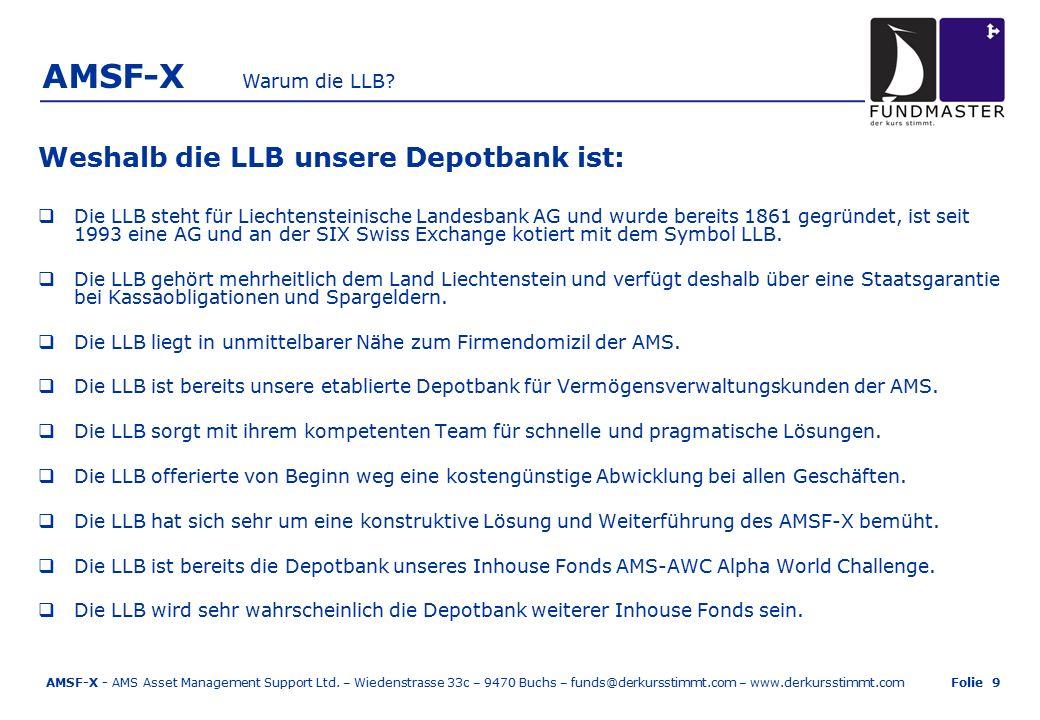 AMSF-X Weshalb die LLB unsere Depotbank ist:  Die LLB steht für Liechtensteinische Landesbank AG und wurde bereits 1861 gegründet, ist seit 1993 eine AG und an der SIX Swiss Exchange kotiert mit dem Symbol LLB.