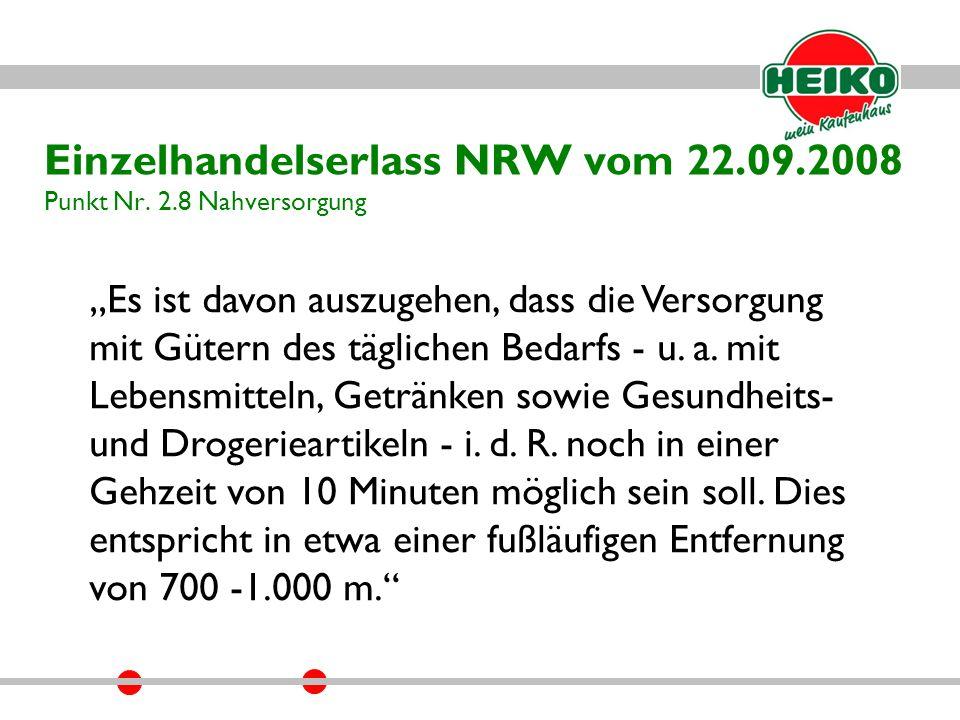 Einzelhandelserlass NRW vom 22.09.2008 Punkt Nr.