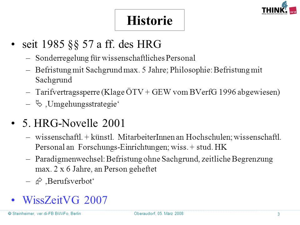 Oberaudorf, 05. März 2008  Steinheimer, ver.di-FB BiWiFo, Berlin 3 Historie seit 1985 §§ 57 a ff.