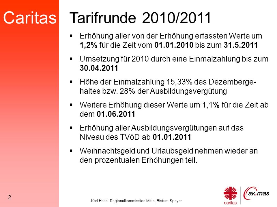 Caritas Karl Heitel Regionalkommission Mitte, Bistum Speyer 3 Tarifrunde 2010/2011 Werte, die von den prozentualen Erhöhungen erfasst werden: 1.Alle Werte der Regelvergütungs- tabellen 2.Urlaubsgeld / Weihnachtszu- wendungen 3.Alle dynamisierten Besitzstandszu- lagen aus der Tarifrunde 2008 4.Zeitzuschläge