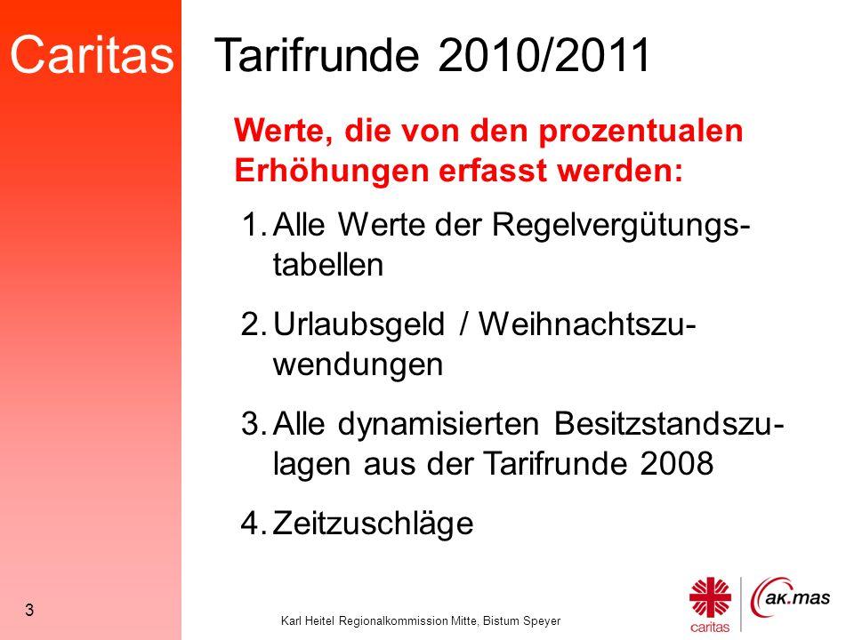 Caritas Karl Heitel Regionalkommission Mitte, Bistum Speyer 64 Ist die Vergleichsjahresvergütung 2011 höher als das Jahresentgelt 2011, erhält der betreffende Mitarbeiter die Differenz als Besitzstandszulage.