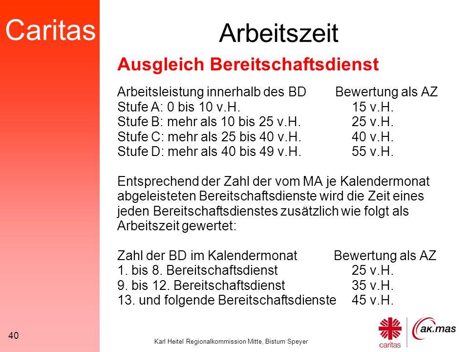 Caritas Karl Heitel Regionalkommission Mitte, Bistum Speyer 40 Arbeitszeit Arbeitsleistung innerhalb des BD Bewertung als AZ Stufe A: 0 bis 10 v.H.