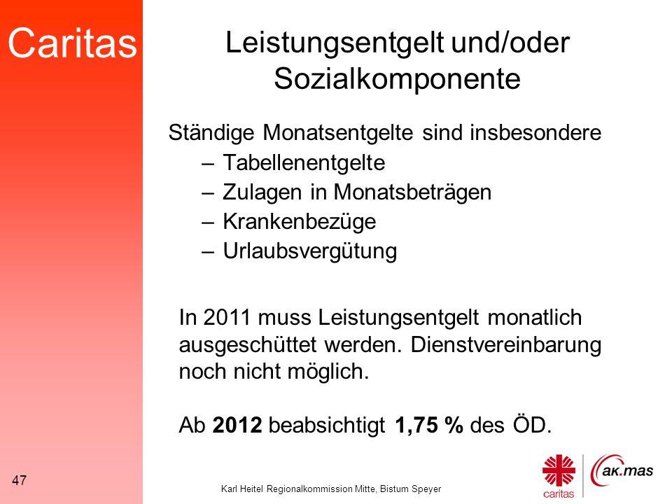 Caritas Karl Heitel Regionalkommission Mitte, Bistum Speyer 47 Leistungsentgelt und/oder Sozialkomponente Ständige Monatsentgelte sind insbesondere –Tabellenentgelte –Zulagen in Monatsbeträgen –Krankenbezüge –Urlaubsvergütung In 2011 muss Leistungsentgelt monatlich ausgeschüttet werden.