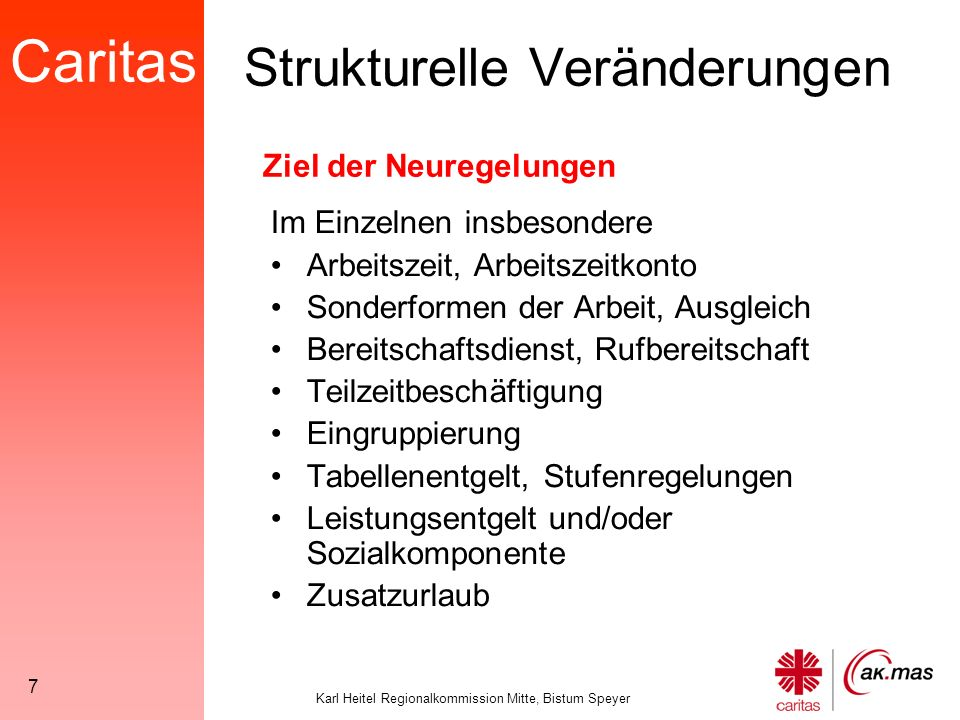 Caritas Karl Heitel Regionalkommission Mitte, Bistum Speyer 38 Arbeitszeit Keine Veränderung der Definition von Bereitschaftsdienst.