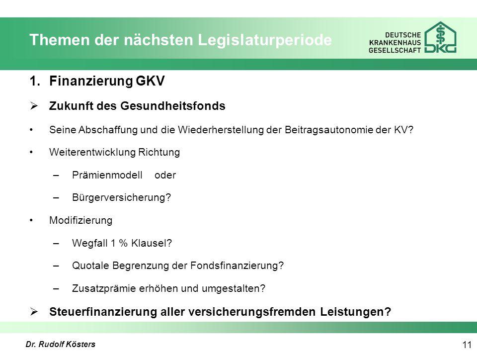 Dr. Rudolf Kösters 11 Themen der nächsten Legislaturperiode 1.Finanzierung GKV  Zukunft des Gesundheitsfonds Seine Abschaffung und die Wiederherstell