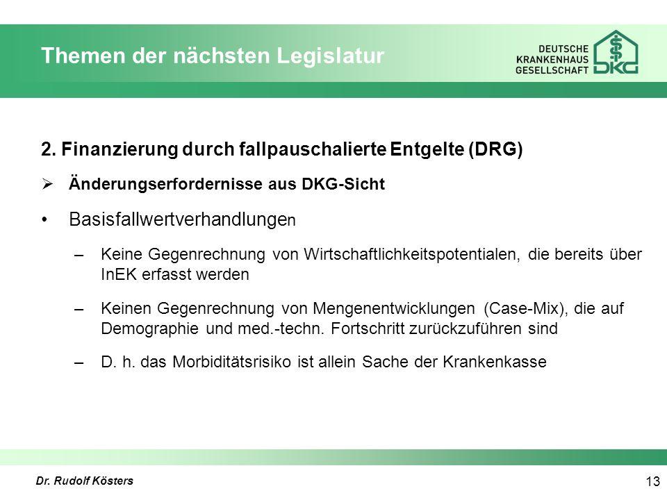 Dr. Rudolf Kösters 13 Themen der nächsten Legislatur 2.