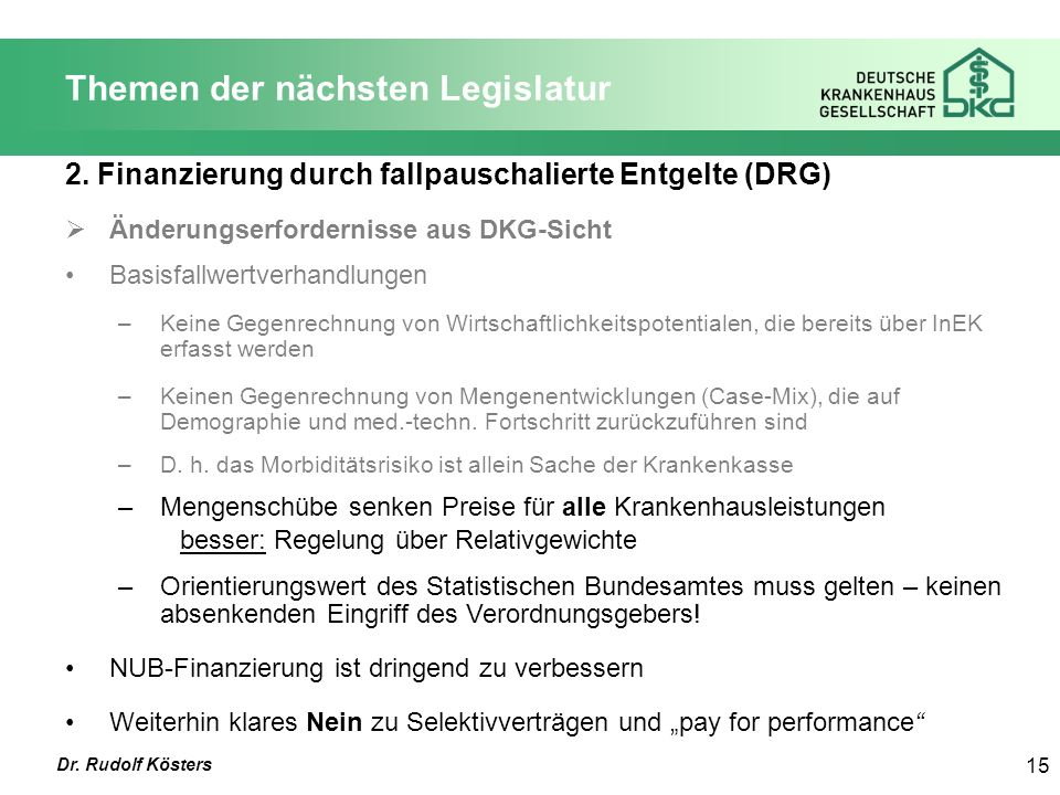 Dr. Rudolf Kösters 15 Themen der nächsten Legislatur 2.