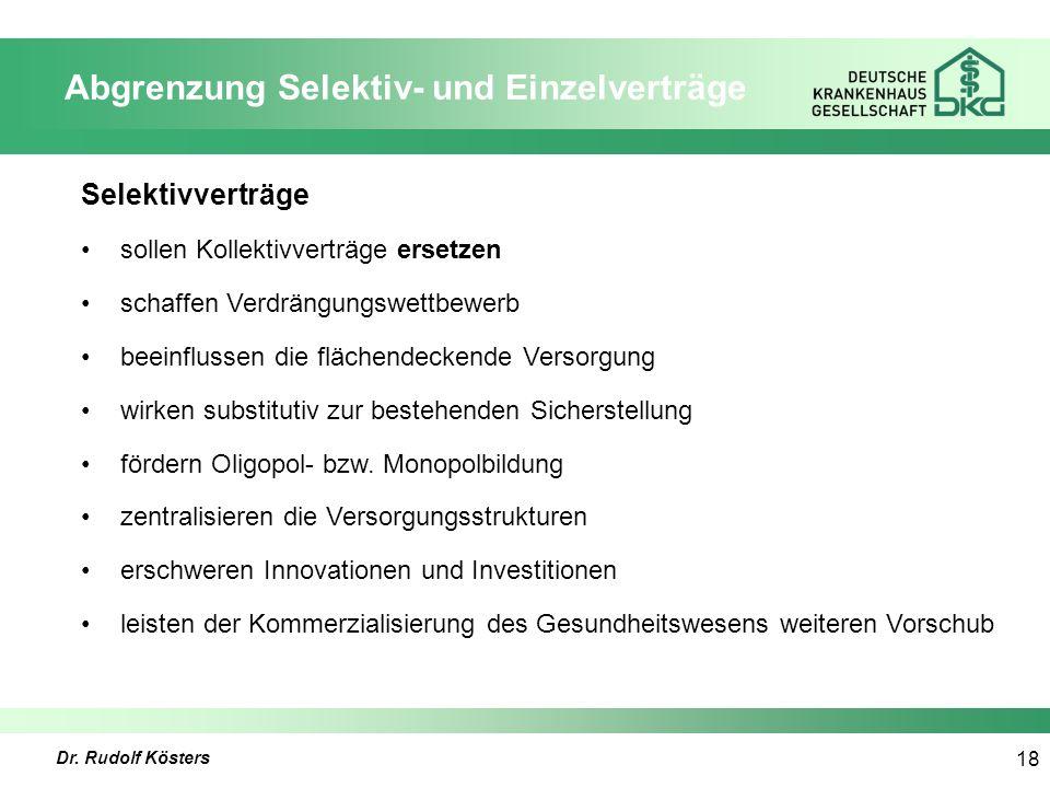 Dr. Rudolf Kösters 18 Abgrenzung Selektiv- und Einzelverträge Selektivverträge sollen Kollektivverträge ersetzen schaffen Verdrängungswettbewerb beein