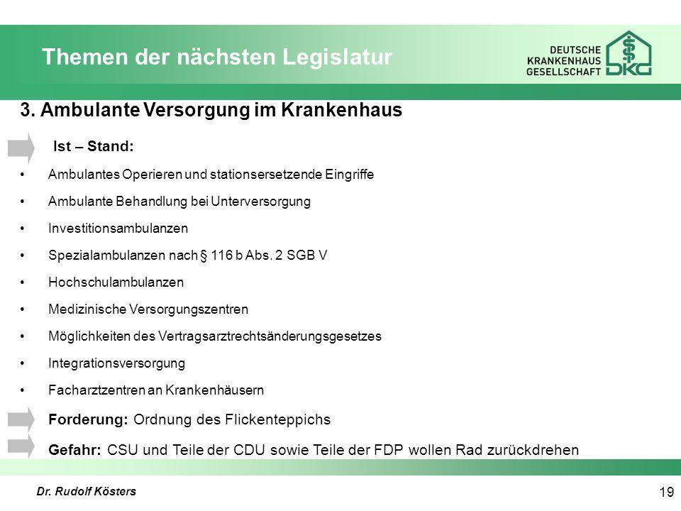 Dr. Rudolf Kösters 19 Themen der nächsten Legislatur 3.