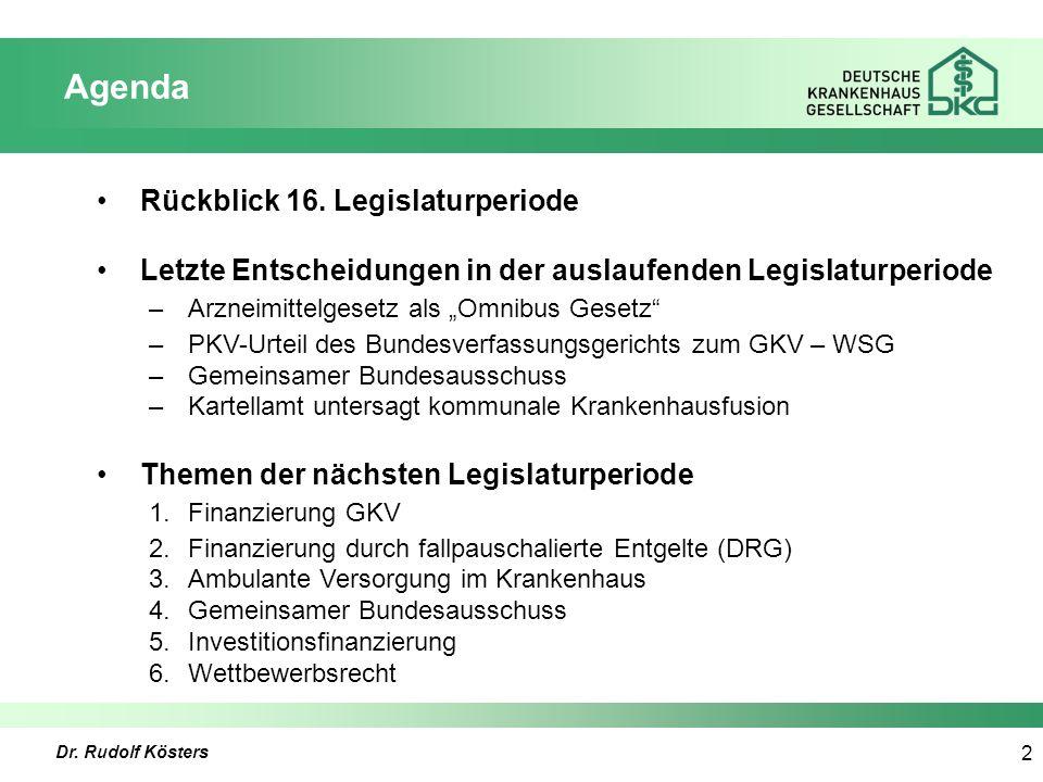 Dr. Rudolf Kösters 2 Agenda Rückblick 16.