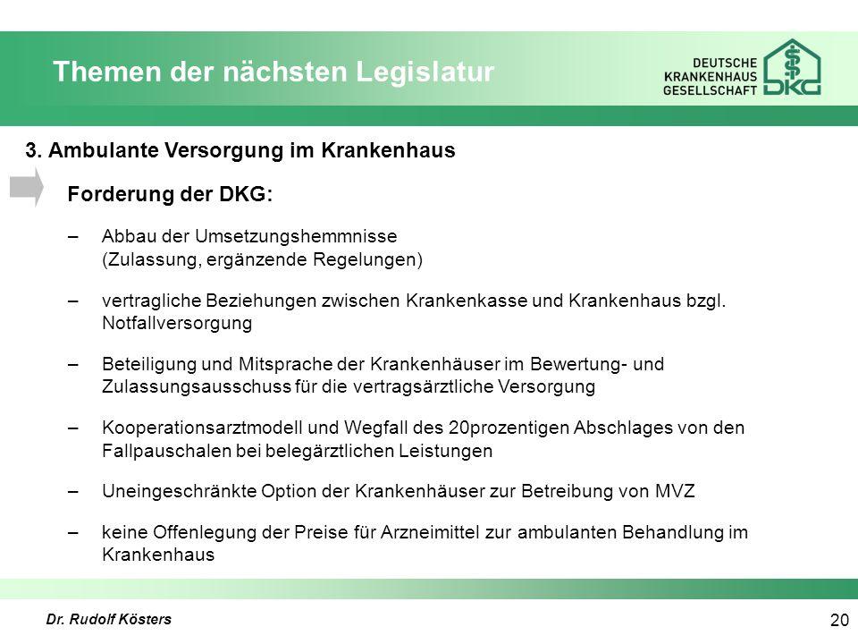 Dr. Rudolf Kösters 20 Themen der nächsten Legislatur 3.