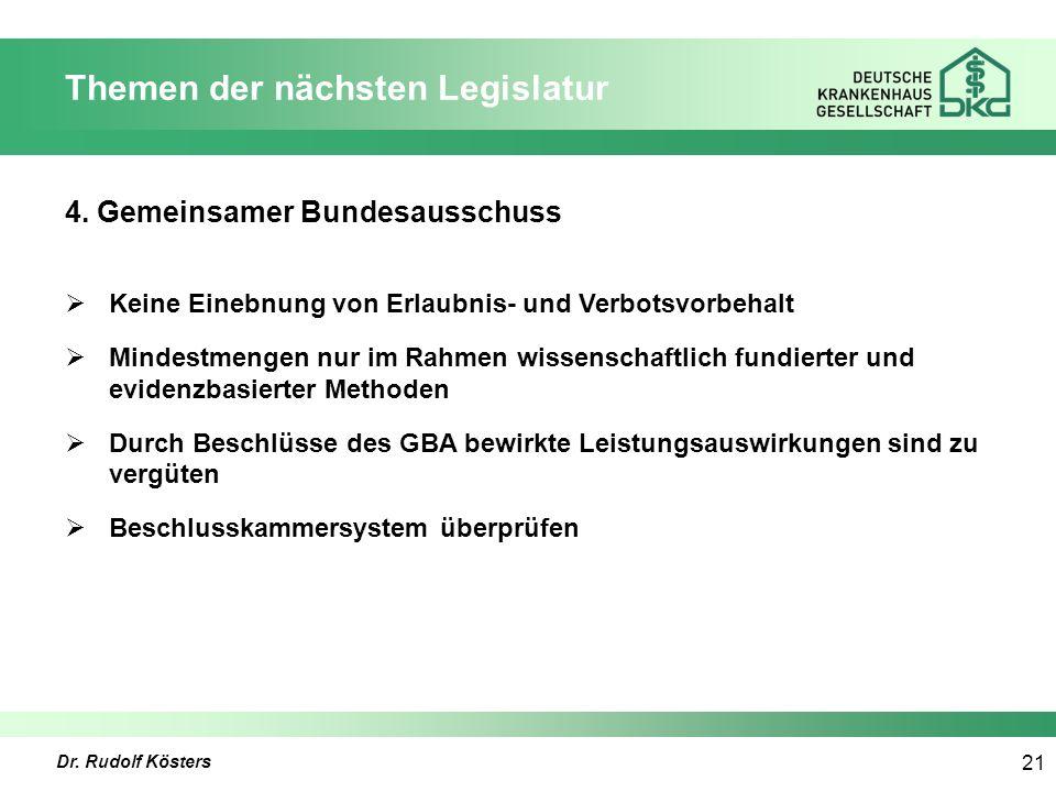 Dr. Rudolf Kösters 21 Themen der nächsten Legislatur 4.