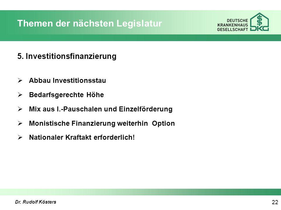 Dr. Rudolf Kösters 22 Themen der nächsten Legislatur 5.