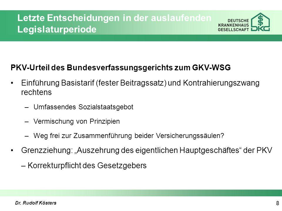 Dr. Rudolf Kösters 8 Letzte Entscheidungen in der auslaufenden Legislaturperiode PKV-Urteil des Bundesverfassungsgerichts zum GKV-WSG Einführung Basis