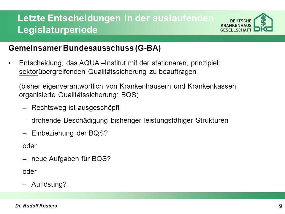 Dr. Rudolf Kösters 9 Letzte Entscheidungen in der auslaufenden Legislaturperiode Gemeinsamer Bundesausschuss (G-BA) Entscheidung, das AQUA –Institut m
