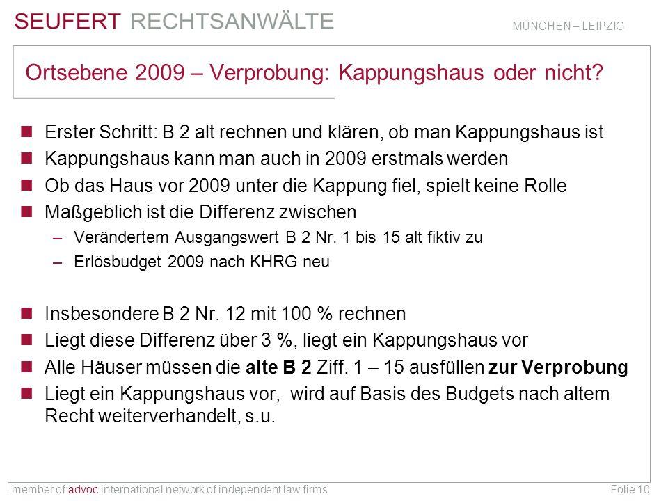 member of advoc international network of independent law firms MÜNCHEN – LEIPZIG Folie 10 Ortsebene 2009 – Verprobung: Kappungshaus oder nicht? Erster