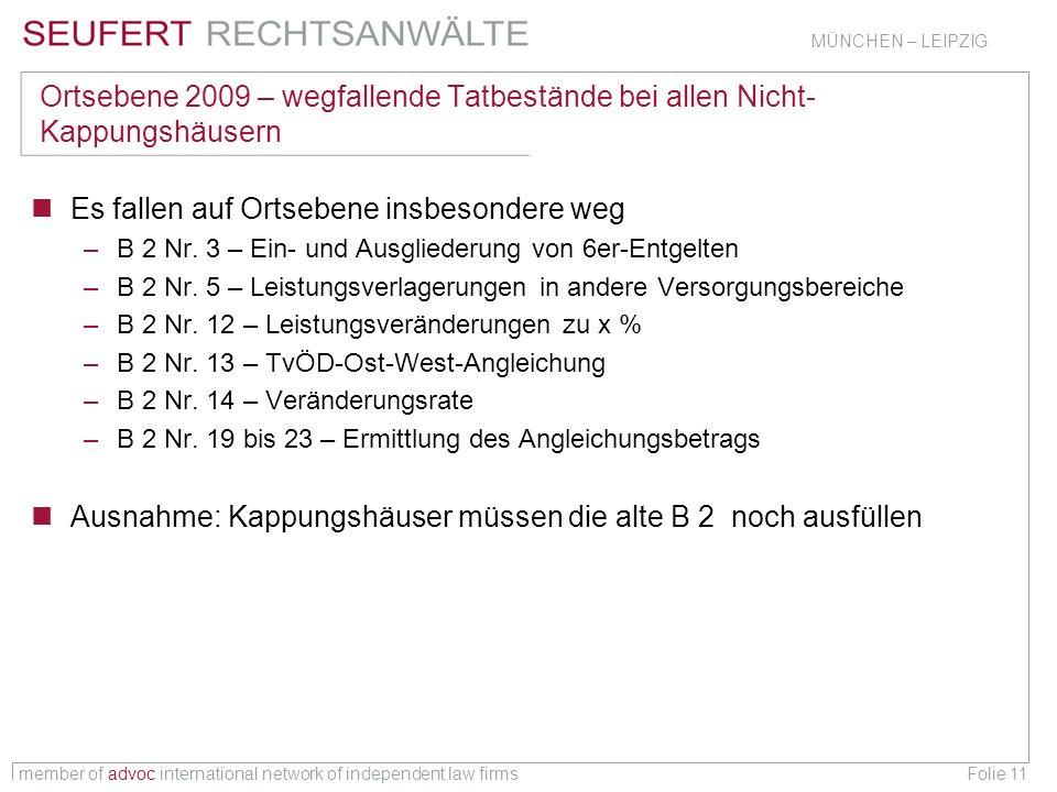 member of advoc international network of independent law firms MÜNCHEN – LEIPZIG Folie 11 Ortsebene 2009 – wegfallende Tatbestände bei allen Nicht- Ka