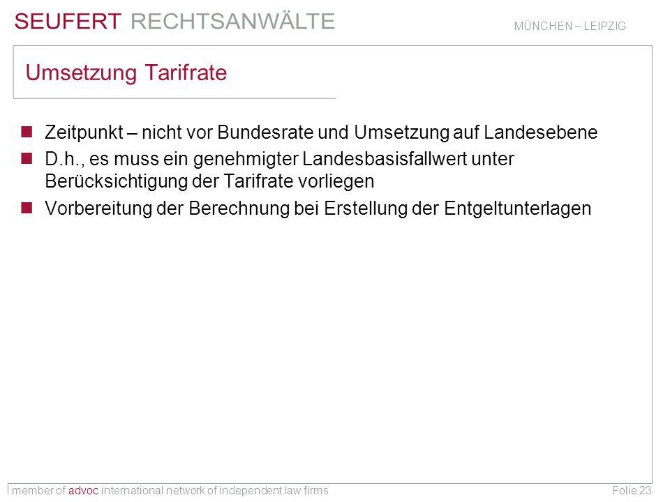 member of advoc international network of independent law firms MÜNCHEN – LEIPZIG Folie 23 Umsetzung Tarifrate Zeitpunkt – nicht vor Bundesrate und Ums