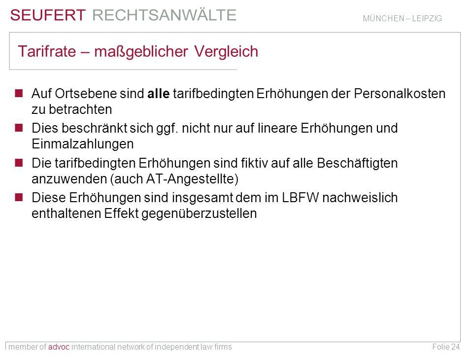member of advoc international network of independent law firms MÜNCHEN – LEIPZIG Folie 24 Tarifrate – maßgeblicher Vergleich Auf Ortsebene sind alle t