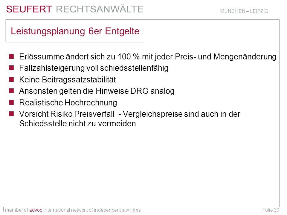 member of advoc international network of independent law firms MÜNCHEN – LEIPZIG Folie 30 Leistungsplanung 6er Entgelte Erlössumme ändert sich zu 100