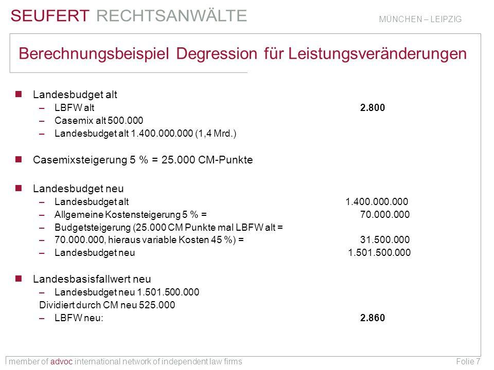 member of advoc international network of independent law firms MÜNCHEN – LEIPZIG Folie 7 Berechnungsbeispiel Degression für Leistungsveränderungen Lan