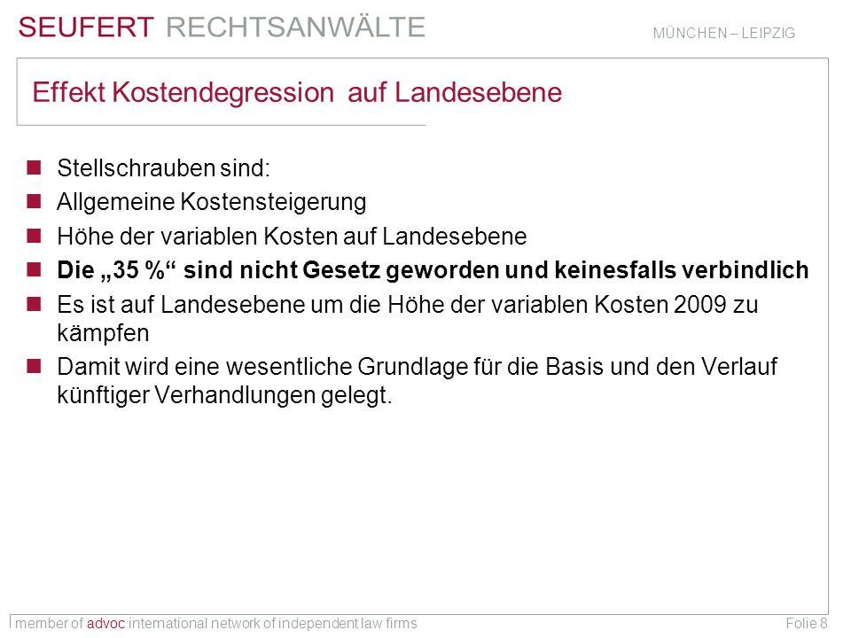 member of advoc international network of independent law firms MÜNCHEN – LEIPZIG Folie 8 Effekt Kostendegression auf Landesebene Stellschrauben sind: