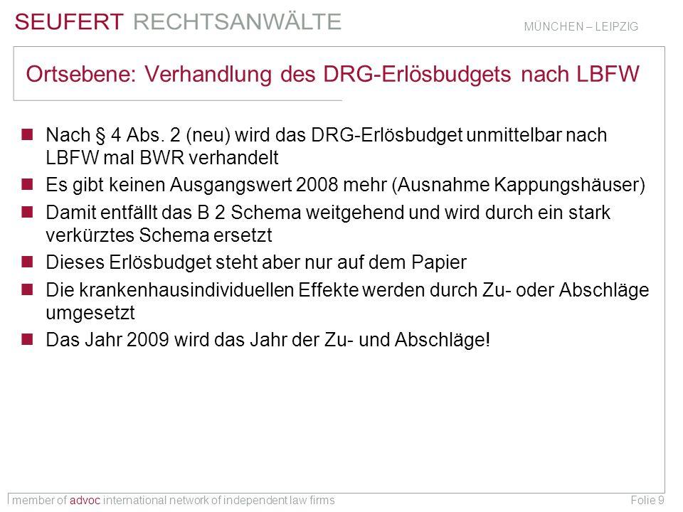 member of advoc international network of independent law firms MÜNCHEN – LEIPZIG Folie 10 Ortsebene 2009 – Verprobung: Kappungshaus oder nicht.
