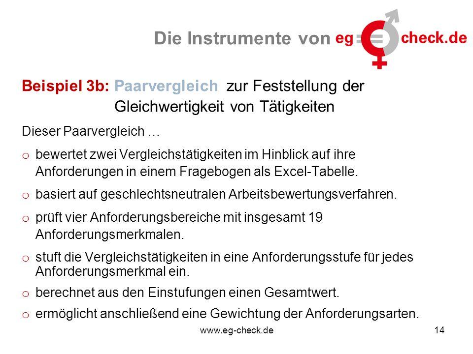 www.eg-check.de14 Die Instrumente von Beispiel 3b: Paarvergleich zur Feststellung der Gleichwertigkeit von Tätigkeiten Dieser Paarvergleich … o bewertet zwei Vergleichstätigkeiten im Hinblick auf ihre Anforderungen in einem Fragebogen als Excel-Tabelle.