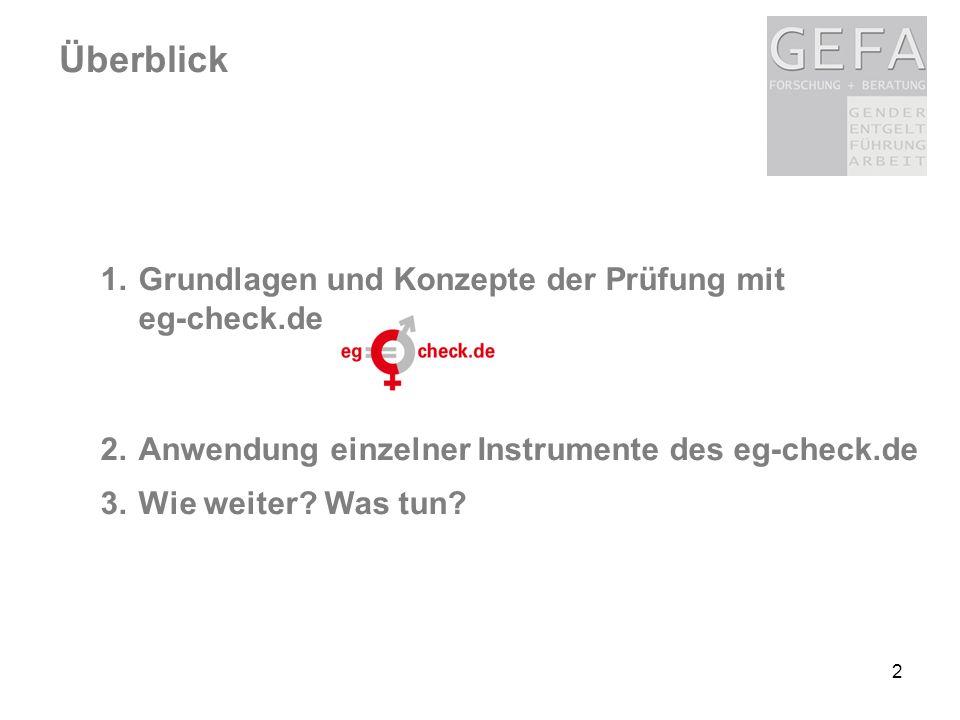 2 1.Grundlagen und Konzepte der Prüfung mit eg-check.de 2.Anwendung einzelner Instrumente des eg-check.de 3.Wie weiter? Was tun? Überblick