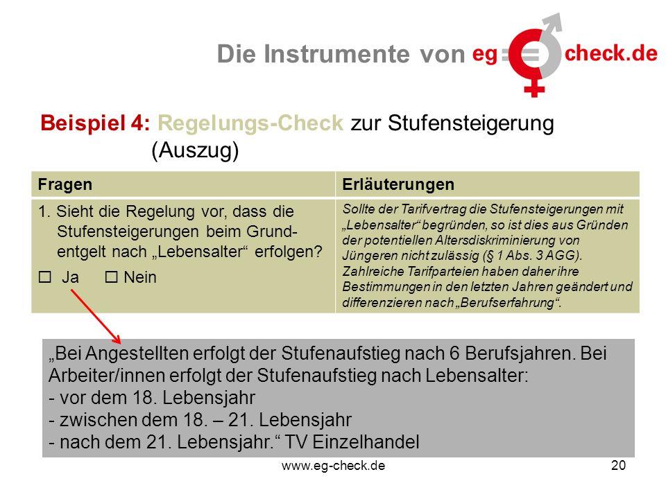 www.eg-check.de20 Die Instrumente von Beispiel 4: Regelungs-Check zur Stufensteigerung (Auszug) FragenErläuterungen 1. Sieht die Regelung vor, dass di