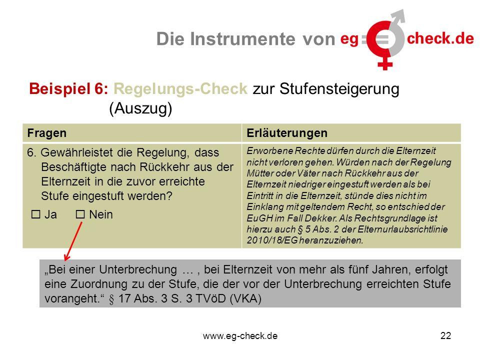 www.eg-check.de22 Die Instrumente von Beispiel 6: Regelungs-Check zur Stufensteigerung (Auszug) FragenErläuterungen 6. Gewährleistet die Regelung, das