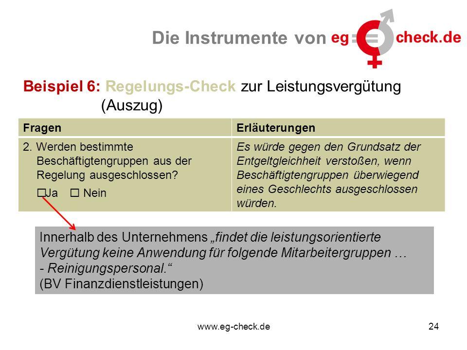 www.eg-check.de24 Die Instrumente von Beispiel 6: Regelungs-Check zur Leistungsvergütung (Auszug) FragenErläuterungen 2. Werden bestimmte Beschäftigte