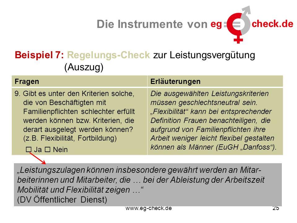 www.eg-check.de25 Die Instrumente von Beispiel 7: Regelungs-Check zur Leistungsvergütung (Auszug) FragenErläuterungen 9. Gibt es unter den Kriterien s