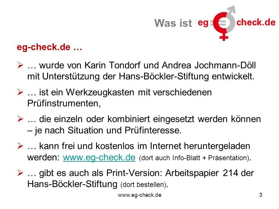 www.eg-check.de3 Was ist eg-check.de …  … wurde von Karin Tondorf und Andrea Jochmann-Döll mit Unterstützung der Hans-Böckler-Stiftung entwickelt.