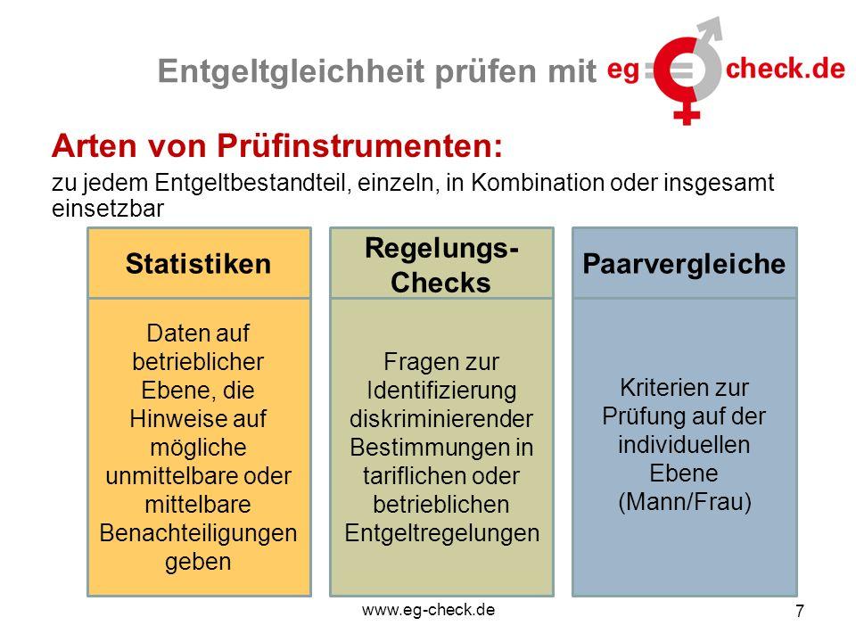 www.eg-check.de 7 Entgeltgleichheit prüfen mit Arten von Prüfinstrumenten: zu jedem Entgeltbestandteil, einzeln, in Kombination oder insgesamt einsetz
