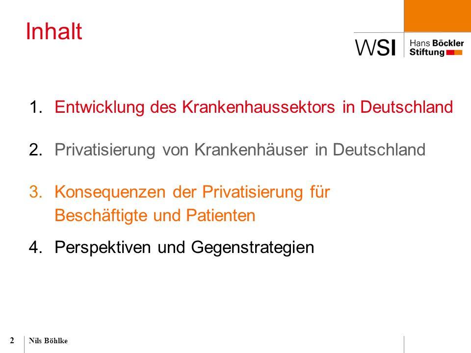 2 1.Entwicklung des Krankenhaussektors in Deutschland 2.Privatisierung von Krankenhäuser in Deutschland 3.Konsequenzen der Privatisierung für Beschäft