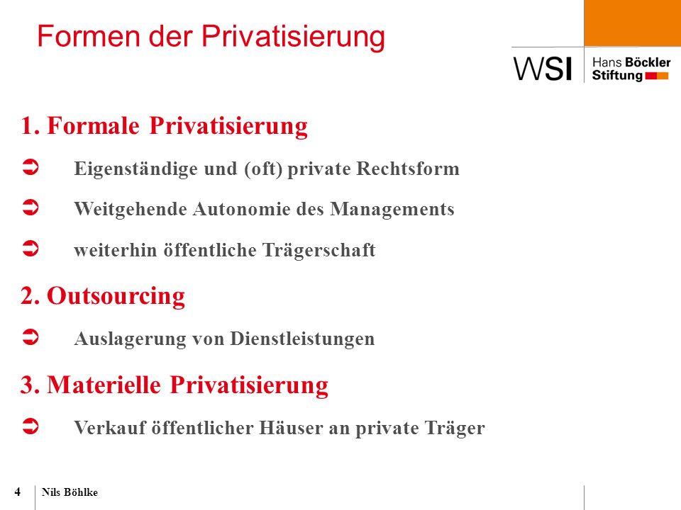 Nils Böhlke 4 Formen der Privatisierung 1. Formale Privatisierung  Eigenständige und (oft) private Rechtsform  Weitgehende Autonomie des Managements