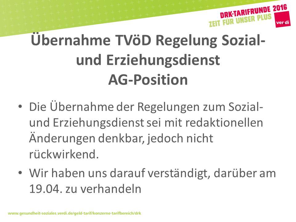 Übernahme TVöD Regelung Sozial- und Erziehungsdienst AG-Position Die Übernahme der Regelungen zum Sozial- und Erziehungsdienst sei mit redaktionellen Änderungen denkbar, jedoch nicht rückwirkend.