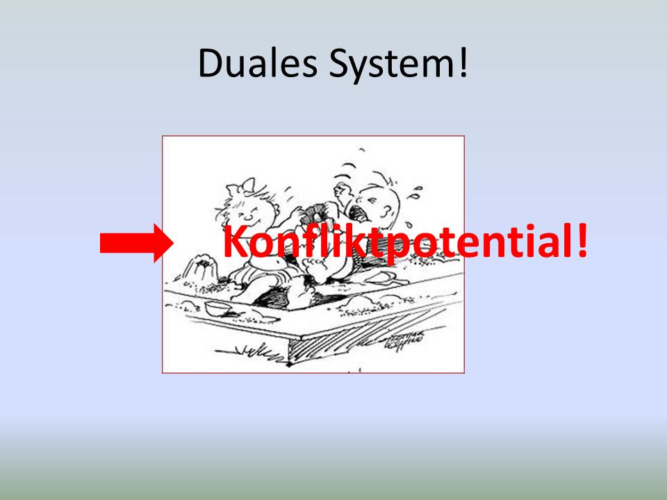 Duales System! Konfliktpotential!